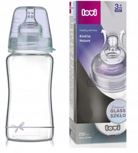 Butelka szklana DIAMOND GLASS Baby Shower BOY 250 ml, Lovi